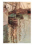 Sailboats in Wollenbewegten Water Print by Egon Schiele