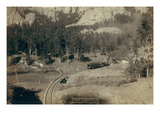 """Horse Shoe Curve."" on Burlington and Missouri River Railway. Buckhorn Mountains in Background Art by John C.H. Grabill"
