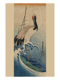 Crane in Waves Print by Ando Hiroshige