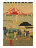 Famous Places in Tokyo: Real View of Takanawa No.2 Featuring the Rising Sun Kunst av Ando Hiroshige