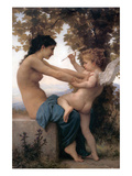 A Young Girl Defending Herself Against Eros Affiches par William Adolphe Bouguereau