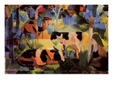 Landscape with Cows and Camels Premium Giclee Print by Auguste Macke