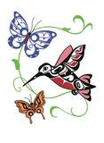 Hummingbird & Butterflies Giclee Print by Odin Lanning