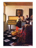 The Music Lesson Láminas por Johannes Vermeer