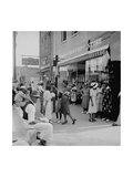 Blacks Shopping on Main Street Premium Giclee Print by Dorothea Lange