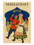 Russian Dancers in a Folk Costume Prints by  Needlecraft Magazine