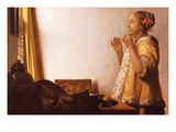 The Pearl Necklace Posters by Johannes Vermeer