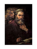 Evangelist Mathew and the Angel Print by  Rembrandt van Rijn