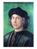 Portrait of a Young Man Against a Green Background Posters by Albrecht Dürer