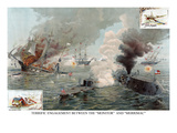 Naval Engagement of the Monitor and Merrimack or the Battle of Hampton Roads Print
