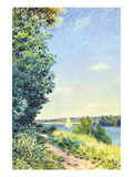 Normandy, Path on the Water, in the Evening at Sahurs Poster by Alfred Sisley