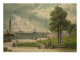 Castle Garden at the Tip of Manhattan with the Stature of Liberty in the Distance Art