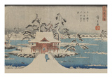 Snow Scene of Benzaiten Shrine in Inokashira Pond (Inokashira No Ike Benzaiten No Yashiro) Posters par Ando Hiroshige
