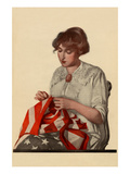 Sewing the Stars and Stripes Poster by  Modern Priscilla