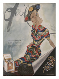 L'Officiel, June 1942 - Paquin, Bijoux de Mauboussin Plakat af Lbenigni