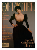 L'Officiel, September 1993 - Magalie dans une Longue Robe Noire d'Yves Saint Laurent Premium Giclee Print by Francesco Scavullo