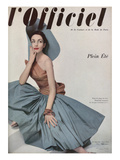 L&#39;Officiel, June 1952 - Robe de Plage de Gr&#232;s Shantung Turquoise de Jacques L&#233;onard en Cte Prints by Philippe Pottier