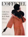 L'Officiel, October 1960 - Manteau de Pierre Cardin en Hebriz de Lesur Toque et Col en Vison Umpa Prints by  Arsac