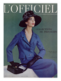 L'Officiel, March 1957 - Tailleur de Pierre Balmain en Cheviotte Poncho de Labbey Print by Philippe Pottier