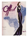 L'Officiel, September 1936 - Flamme Bleue Création Maggy Rouff Premium Giclee-trykk av  Lbenigni