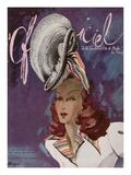 L'Officiel, May-June 1945 - Chapeau de Coralie -Tissu de René Véron Poster af  Lbenigni