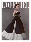 L'Officiel, December 1950 - Robe du Soir de Jacques Fath Premium Giclee Print by Philippe Pottier