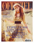 L&#39;Officiel, May 2008 - Christina Ricci Porte une Robe en Organza Jaune Imprim&#233; Abstrait, Prada Prints by Guy Aroch