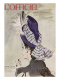 L&#39;Officiel, July-August 1945 - Chapeau de Ros&#233; Valois Prints by  Mourgue