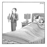 A man and a woman lie in bed. Another man stands next to them holding cymb… - New Yorker Cartoon Premium Giclee Print by Harry Bliss