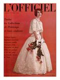 L'Officiel, April 1961 - Robe de Jacques Heim en Organdi de Coton Longfibre Brodé de Pierre Brivet Print by Roland de Vassal