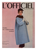 L'Officiel, October 1955 - Balenciaga, Manteau Sept-Huitièmes en Velours Côtelé Posters by Philippe Pottier