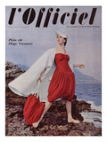 L'Officiel, June 1955 - Grès. Ensemble de Plage en Jersey de Rodier, Cape en Toile de Moreau Print by Philippe Pottier