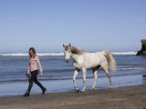 Horse and Lady Walking on Beach (Photo Released), California Photographic Print by Lynn M. Stone