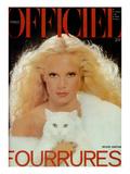 L'Officiel, November 1977 - Sylvie Vartan Porte une Magnifique Étole en Renard Blanc de Revillon Prints by Rodolphe Haussaire