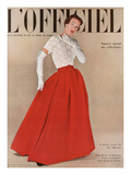L'Officiel, October 1950 - Robe du Soir de Balenciaga, Velours de Ducharne, Laize Guipure de Maxime Posters by Philippe Pottier