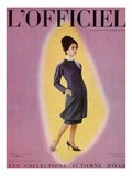 L'Officiel, September 1959 - Robe de Christian Dior en Grizki de Lesur Premium Giclee Print by Philippe Pottier