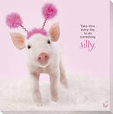 In The Pink! - Silly Pig Stretched Canvas Print