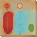 Aqua Leaves Stretched Canvas Print