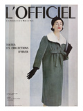 L'Officiel, October 1956 - Givenchy, Manteau en Velours Côtelé de Gerondeau Poster by Philippe Pottier