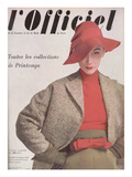 L'Officiel, April 1952 - Ensemble de Jacques Fath, Veste en Tweed de Lesur, Blouse en Jersey Posters by Philippe Pottier