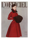 L'Officiel, October 1951 - Pierre Balmain, Redingote en Ratine de Rémond Print by Philippe Pottier