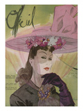 L'Officiel, March 1943 - Chapeau de Jacques Path, Paille de G.R. Pierron Poster af Lbenigni