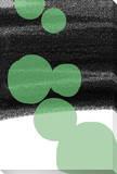 Jet Black Green Circles Stretched Canvas Print