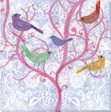 Multicolor Birds on Pink Tree Stretched Canvas Print by Laura Hughes