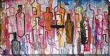 Abstract Liquor Bottles Stretched Canvas Print