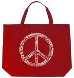 Peace Symbol In Different Languages Tote Bag