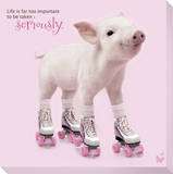 In The Pink! - Roller Skating Pig Stretched Canvas Print
