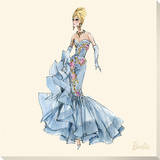 Barbie™, Blue Dres Stretched Canvas Print