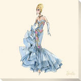 Barbie™, Blue Dres Stretched Canvas Print