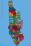 Manhattan Neighborhoods Map Print